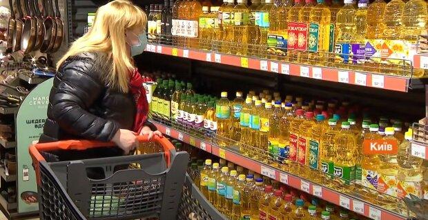 супермаркет, магазин, соняшникова олія