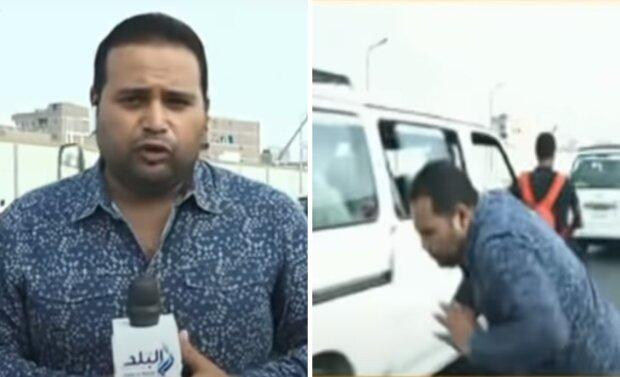 Репортера збив мотоцикл прямо під час передачі