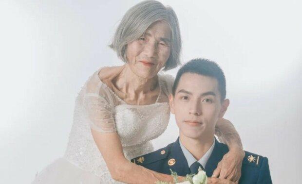 весільне фото 24-річного хлопця та 85-річної жінки