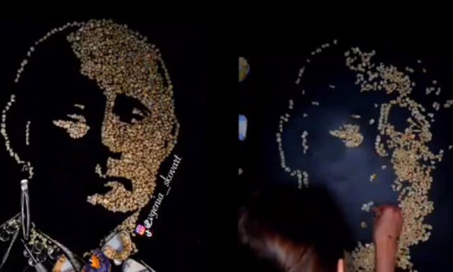 портрет Путіна з людських зубів